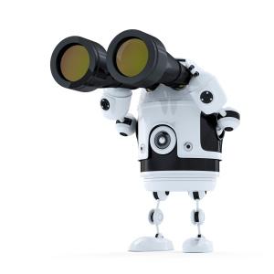 robot looking through binoculars