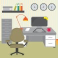 377144 illustration of office desk
