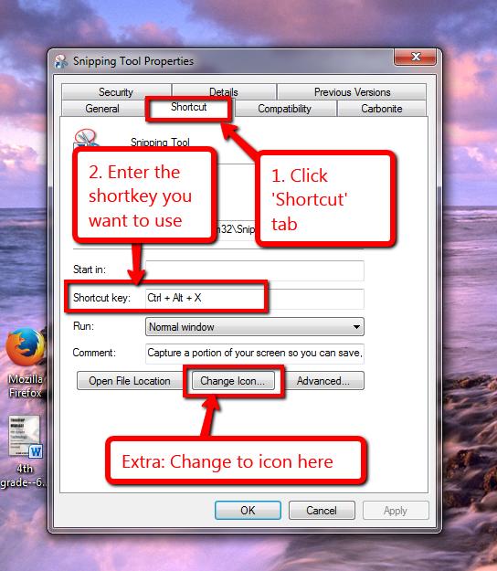create a shortkey