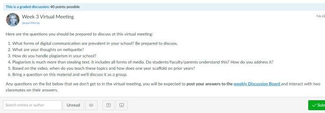 MTI 557 weekly virtual meeting sample